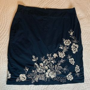 Ann Taylor Embroidered Navy Pencil Skirt